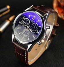Yazole 271 Vintage Unisex Leather Band Stainless Steel Sport MilitaryQuartz Wrist Watch Black Black Malaysia