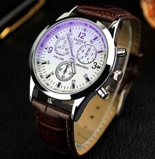 Yazole 271 Vintage Unisex Leather Band Stainless Steel Sport MilitaryQuartz Wrist Watch Brown White