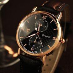 YAZOLE Brand Watch Leather Men Watches Quartz Wristwatches Male Quartz-watch YZL355H-Black Malaysia