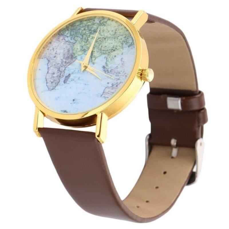 ERA World Map Globe Fashion PU Leather Womens Analog Quartz Wrist Watch Gift Malaysia