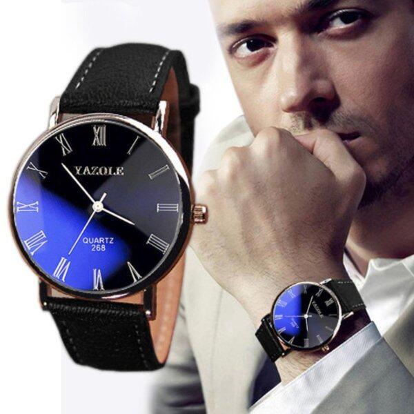 Yazole Men Leather Band Fashion Sport Bussiness Quartz Wrist Watch Malaysia