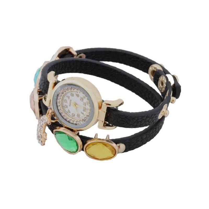 ERA Womens Crystal Moon Pendant Gem Faux Leather Wrap Bracelet Quartz Wrist Watch Malaysia