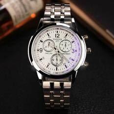 Yazole Mens Stainless Steel Band Date Analog Quartz Sport Wrist Watch (White) Malaysia