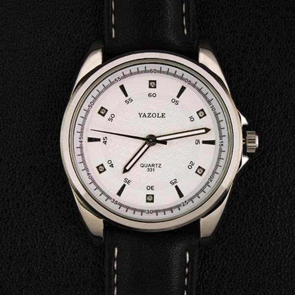 YAZOLE Vintage Men Leather Band Fashion Stainless Steel Sport Bussiness Quartz Wrist Watch YZL331-Black Malaysia
