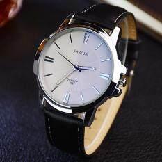 YAZOLE Vintage Men Leather Band Fashion Stainless Steel Sport Bussiness Quartz Wrist Watch YZL332-Black Malaysia