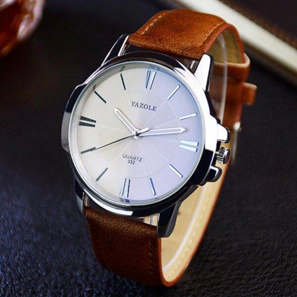 YAZOLE Vintage Men Leather Band Fashion Stainless Steel Sport Bussiness Quartz Wrist Watch YZL332-Brown Malaysia