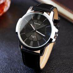 YAZOLE Vintage Men Leather Band Fashion Stainless Steel Sport Bussiness Quartz Wrist Watch YZL332H-Black