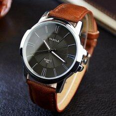 YAZOLE Vintage Men Leather Band Fashion Stainless Steel Sport Bussiness Quartz Wrist Watch YZL332H-Brown