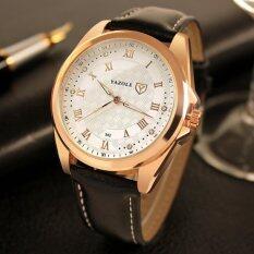 YAZOLE Vintage Men Leather Band Fashion Stainless Steel Sport Military Quartz Wrist Watch YZL342-Black Malaysia