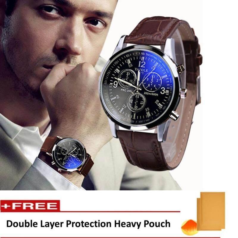Yazole Vintage Unisex Leather Band Stainless Steel Sport Military Quartz Wrist Watch Malaysia