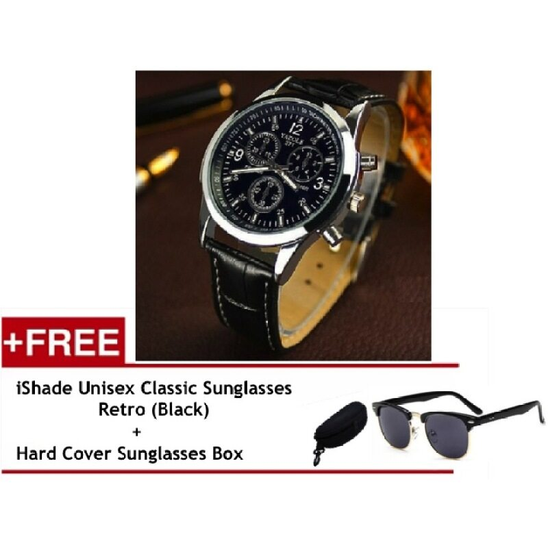 Yazole Vintage Unisex Leather Band Stainless Steel Sport MilitaryQuartz Wrist Watch (Black) Free iShade Unisex Classic Sunglasses Retro (Black) Malaysia