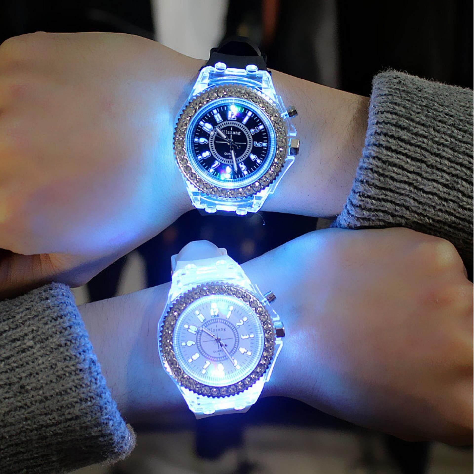 ZB 1 Pair Couple LED Luminous Watch Fashion Silicon Diamond Jelly Watch