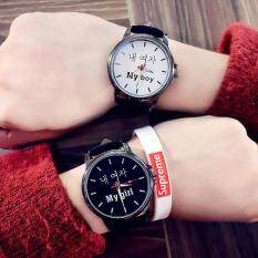 YBC 1 Pair Couple Watch Wristwatch PU Quartz Simple Lovers Watch Malaysia