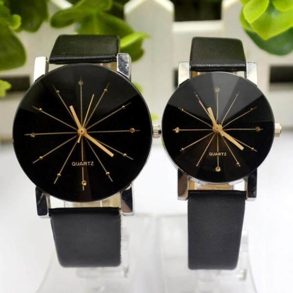 YBC 1 Pair Fashion Couple Wrist Watch With PU Leather Round Dial Watchband (Black) Malaysia