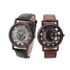 YBC 1 Pair Hollow Imitation Couple Watch Non Mechanical Leather Watches Malaysia