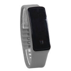 YBC 2pcs Women Sport LED Silicone Rubber Strap Touch Screen Digital Bracelet Watch (Grey) Malaysia