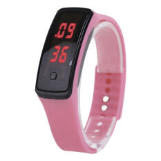 YBC 2pcs Women Sport LED Silicone Rubber Strap Touch Screen Digital Bracelet Watch (Pink) Malaysia