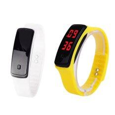 YBC 2pcs Women Sport LED Silicone Rubber Strap Touch Screen Digital Bracelet Watch Malaysia