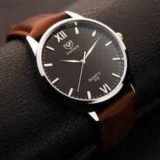 YBC Fashion Men Waterproof Quartz Watches PU Leather Business Wristwatch
