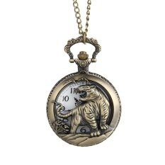 YBC Zodiac Tiger Hollow Pocket Watch Necklace Pendant Quartz Watch Gift Malaysia