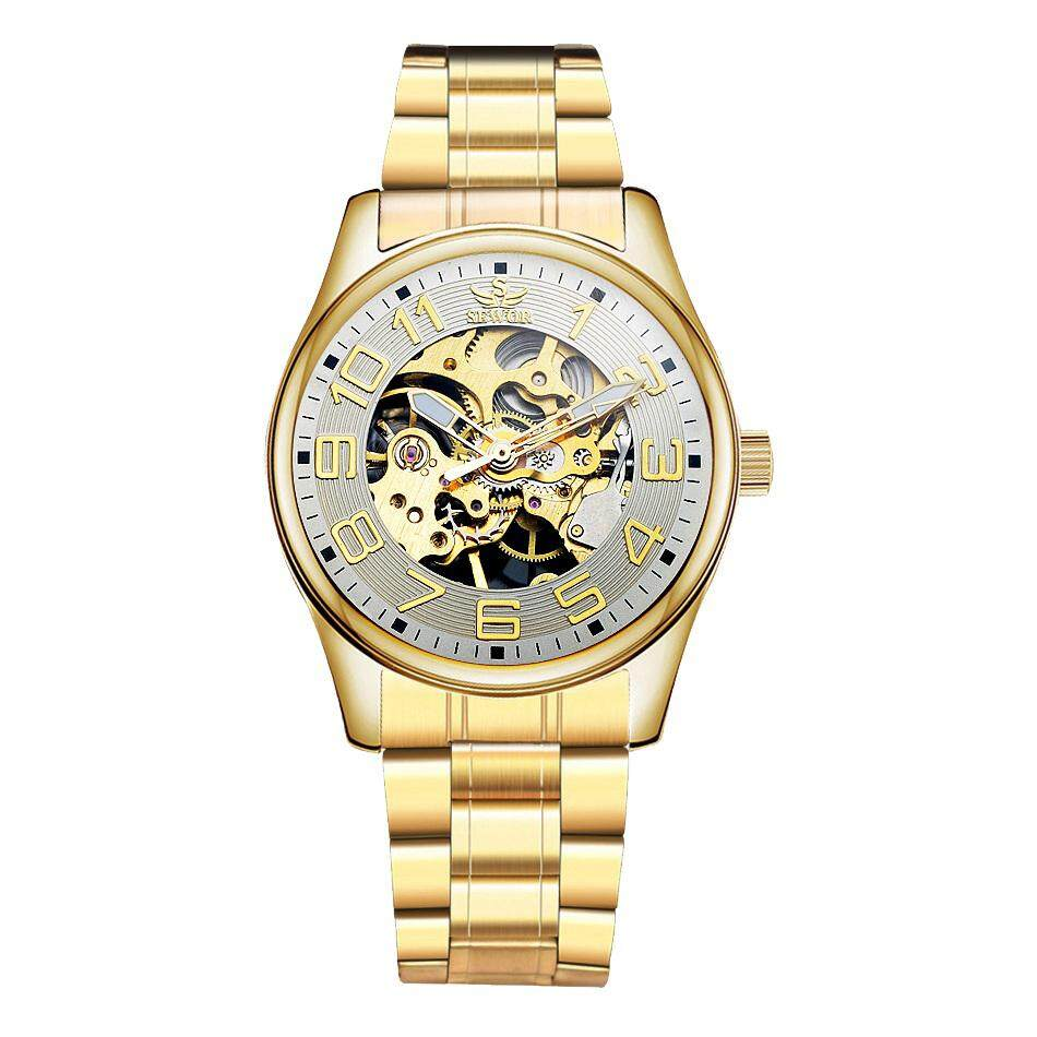 yesefus SEWOR Stylish Fashion Mens Casual Skeleton Mechanical Watches Hand Wind Wristwatch Business Watch Gold Stainless