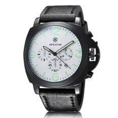 yiokmty Foreign hot money Speatak fashion men's luminous business watch three eyes calendar quartz watch market (WhiteBlack)