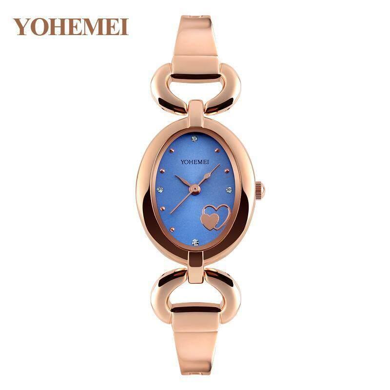 YOHEMEI Watches for Womens Quartz Watch Oval Dial Bracelet Casual Gold Ladies Watch Clock - Blue Malaysia