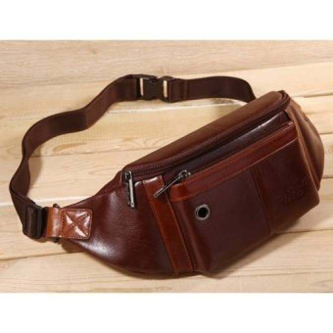 YSLMY New Men First Layer Cowhide Geunine Leather Real Fanny Waist Pack Clutch Purse Chest Hip Belt Bag Multi-Purpose Travel Hiking