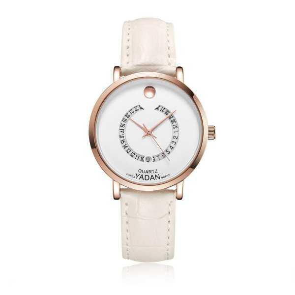 MYR 105 yugos YADAN new quartz waterproof Ms. ultra-thin leather movement Japanese simple watch calendar White ...