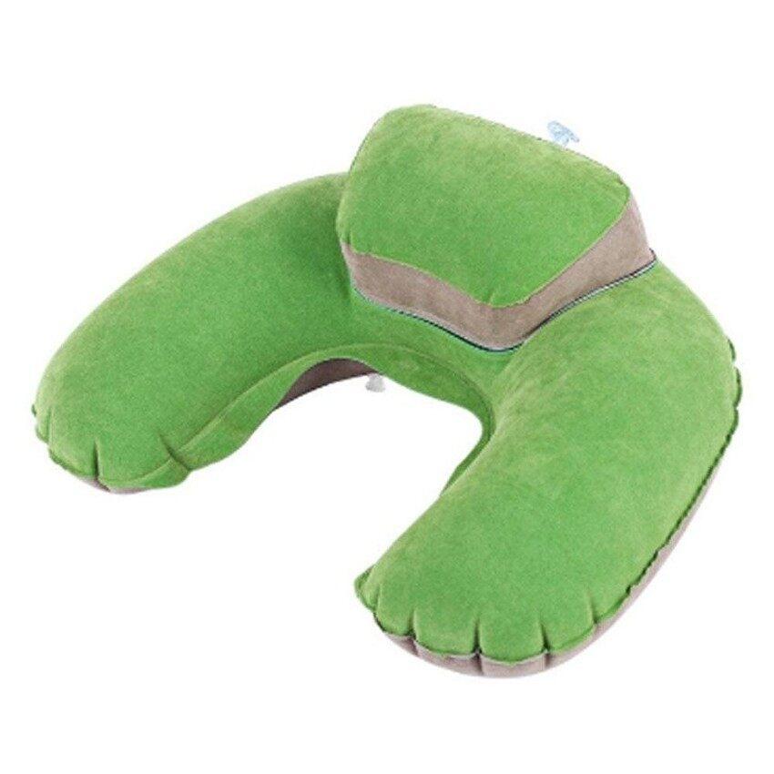 ZR Bantal Perjalanan Inflatable Bentuk Leher Meledakkan Cushion PVC Bantal Tempel untuk Camping dan Bepergian,