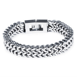 ZUNCLE Men's Personalized Square Scales Titanium Steel Bracelet(Silver)