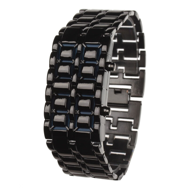 ZUNCLE Stylish 8-LED Blue Light Digit Stainless Steel Bracelet Wrist Watch-1 x CR2016 (Black) Malaysia