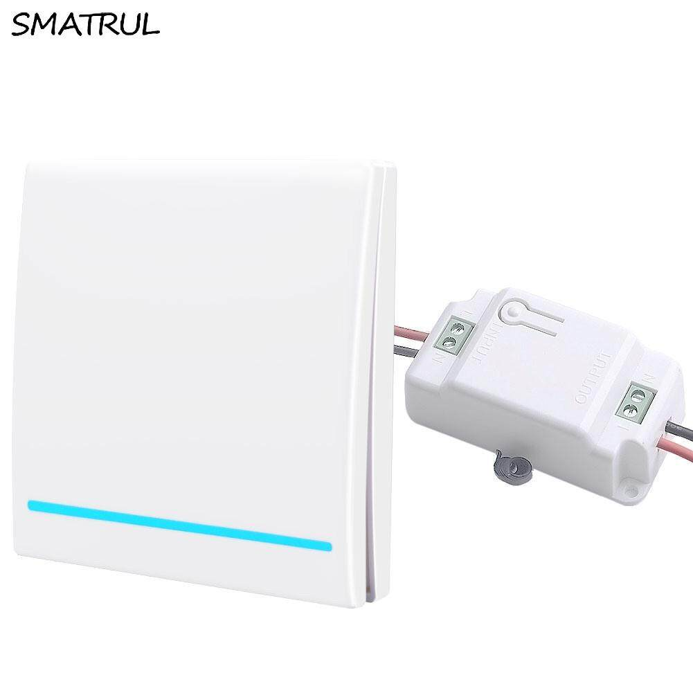 SMATRUL(24 Hour to ship)433Mhz Wireless smart Light Switch push RF Remote Control 1000W 50M AC 110V 220V 240V Receiver Wall Panel button Bedroom Lamp 1 gang 1 receiver white