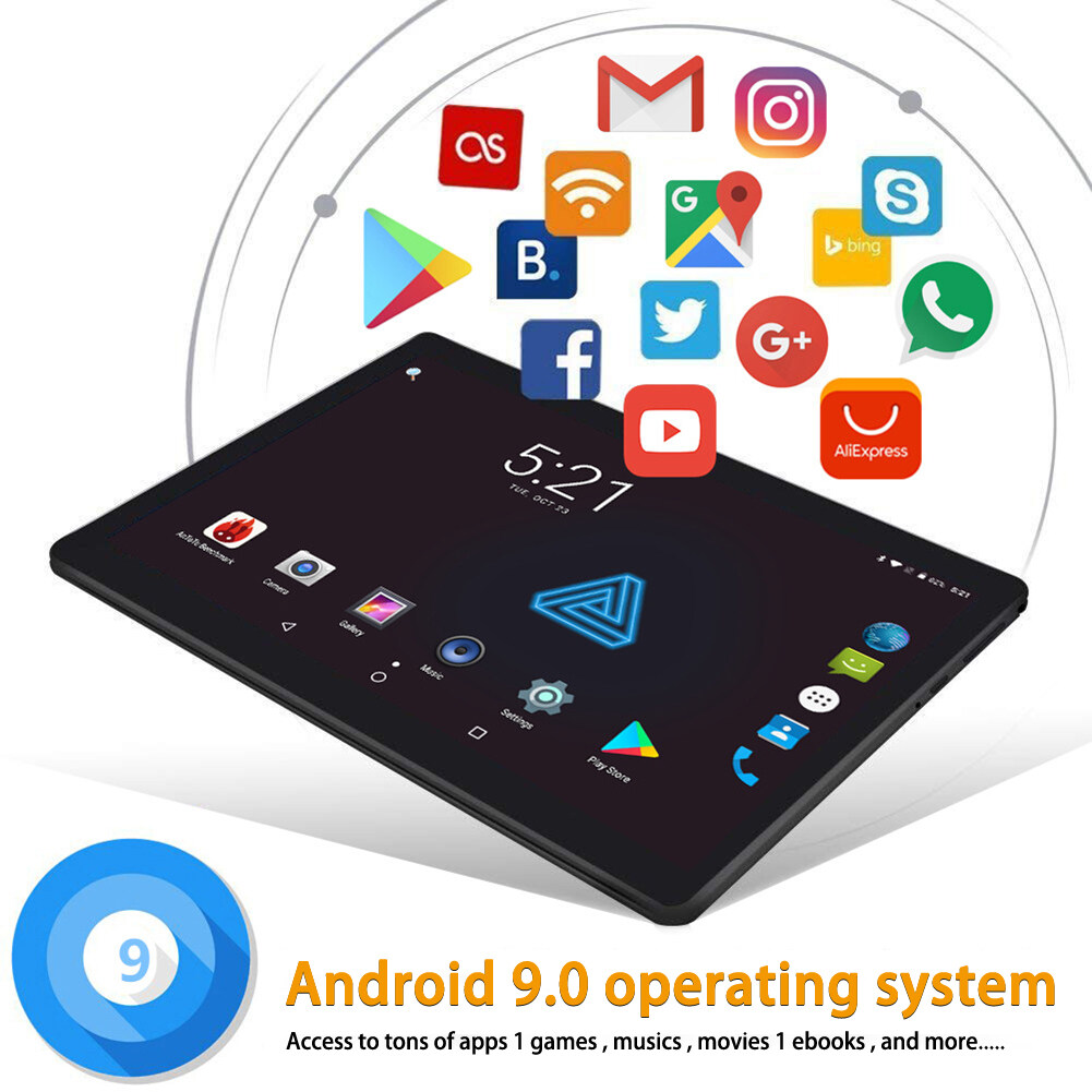 2019 New Google Play Android 9.0 OS 10.1 inch tablet Octa Core 8GB RAM 512GB ROM 2.5D Glass WIFI Tablets Dual SIM card 3G 4GLTE tablet computer Malaysia