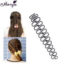 Công Cụ Bện Tóc Pháp Rết Braider Roller Hook Với Magic Hair Twist Tạo Kiểu Tóc Phụ Kiện DIY-Đen