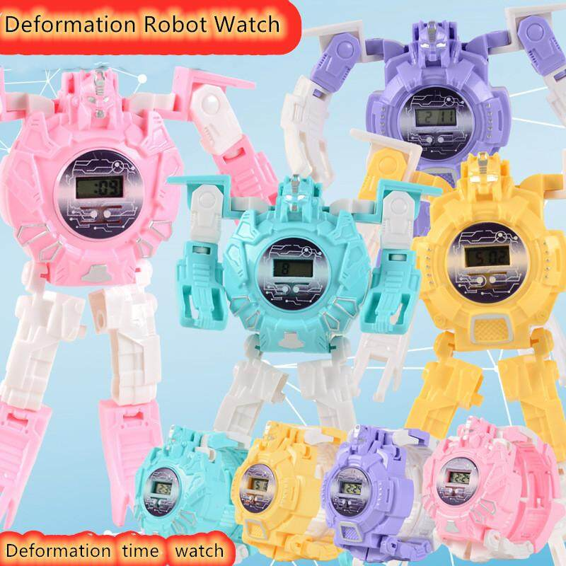 Girls Boys Creative Cartoon Deformation Robot Digital Watch Toys Gift Watch for kids Train Childrens Ability of using Hands and Brain (four colors) Malaysia