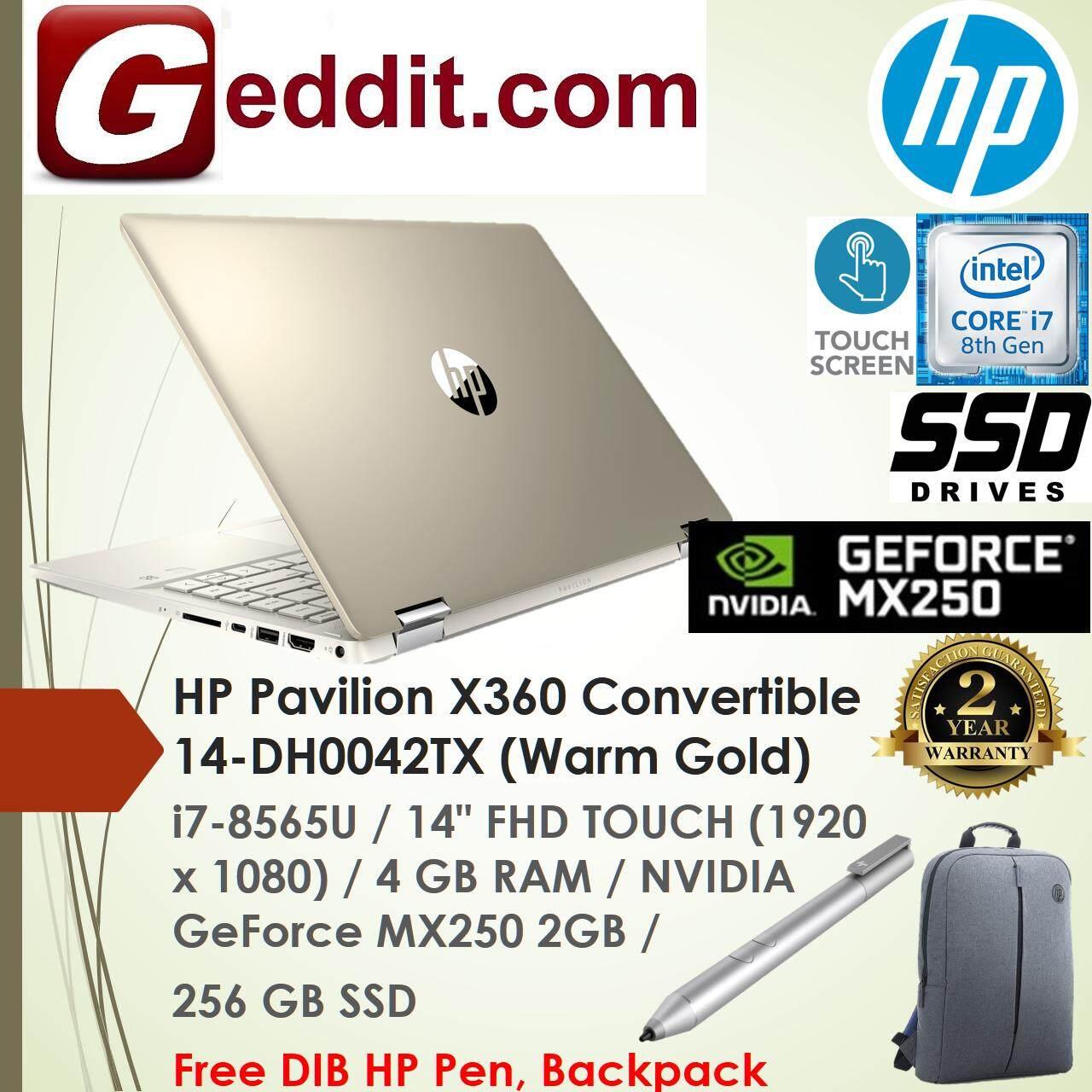 HP PAVILION X360 14-DH0042TX NOTEBOOK (i5-8565U,4GB,256GB SSD,GEFORCE MX250,14,WIN10) FREE BACKPACK Malaysia