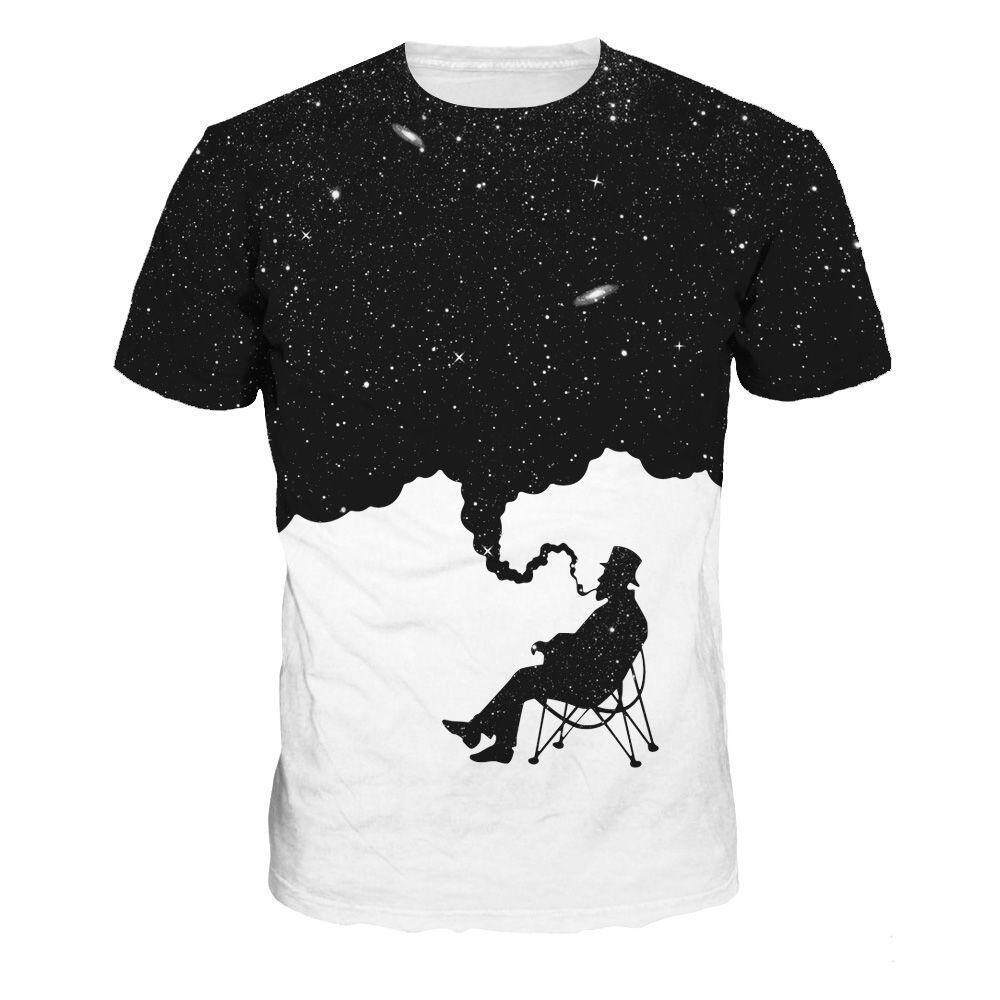 37c2d061eb6c Casual top old man star loose round neck short sleeve T-shirt