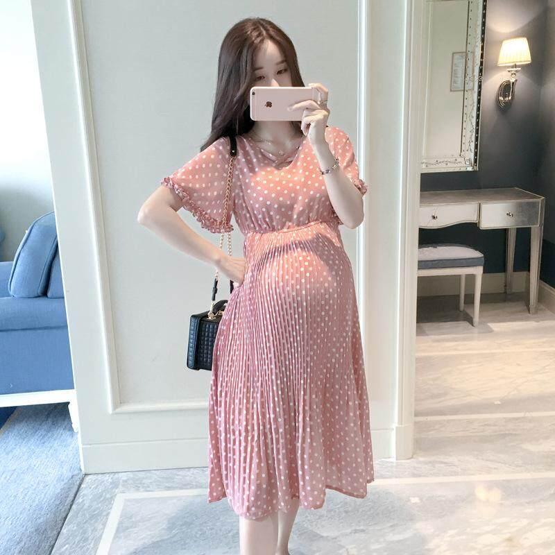 Maternity Dress Pregnant Women Korean Short Sleeve Chiffon Dress By Ycitshop.