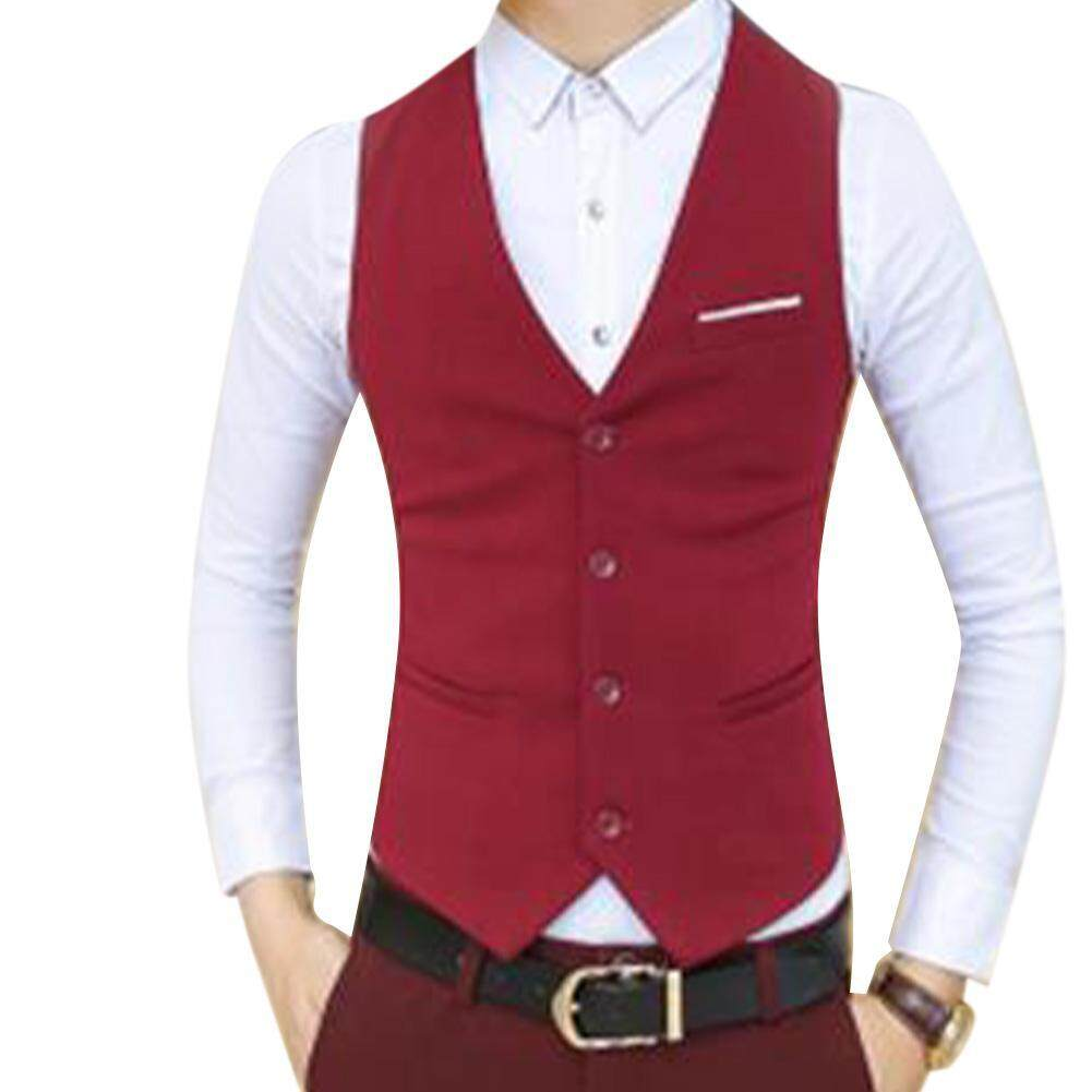 89e2dd6369b5d Stylish Men Solid Color Single-breasted Cotton Vest Sleeveless Slim Formal  Waistcoat
