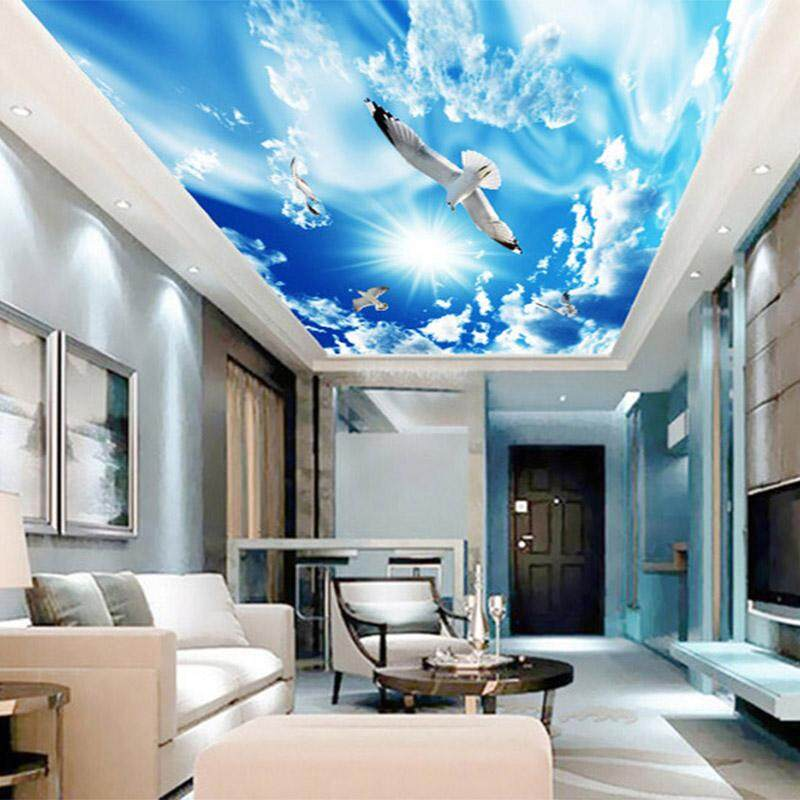 3D Wallpaper Vinyl Wall Sticker Blue Sky White Clouds Bird Nature Landscape Wall Mural Living Room Bedroom Luxury Decor Wall paper