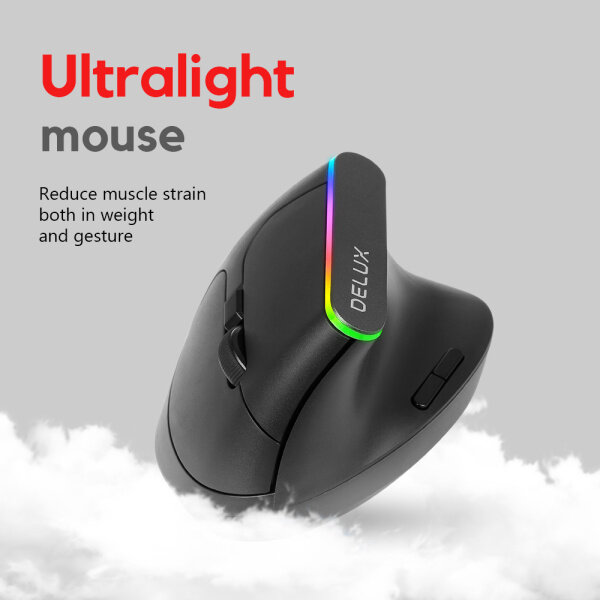 Delux M618D Ergonomic Vertical Mouse Rechargable Silent Mute Wireless 2.4GHz 6 Buttons Gaming Mouse gamer RGB 1600 DPI Vertical Mice For PC Laptop Malaysia
