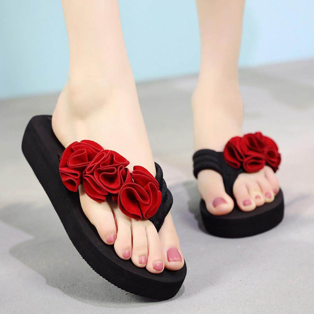 23df0e1f7ad Auburyshop Summer Fashion Women s Flower Clip Toe Flip Flops Non-Slip  Wedges Beach Slippers