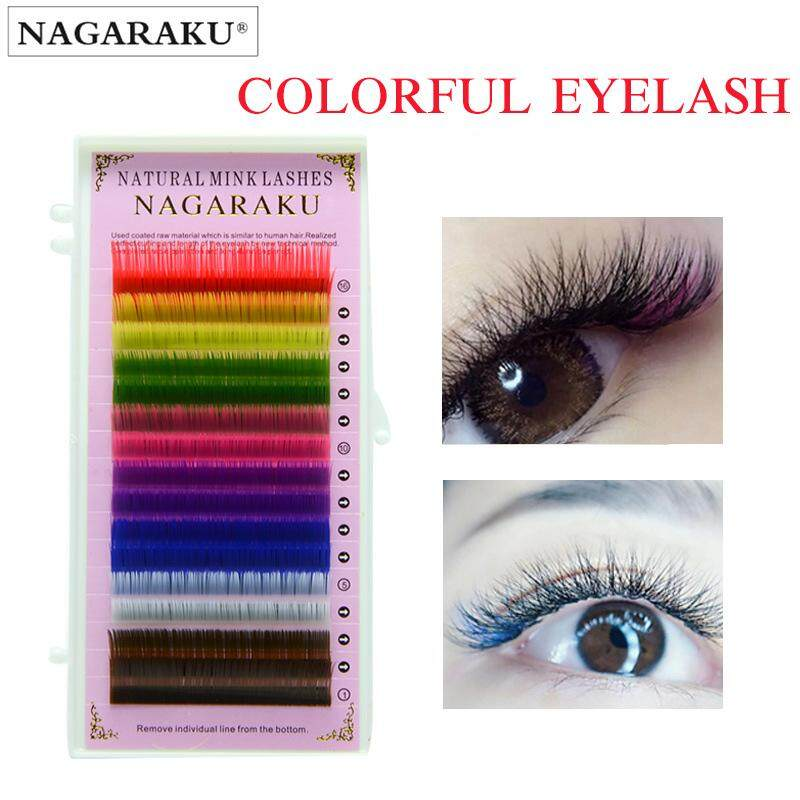 Lagee 0.07mm C Curl 9mm Say 16 Rows 8 Colors Mix Rainbow Colored Eyelash Extension Fiber False Eyelashes