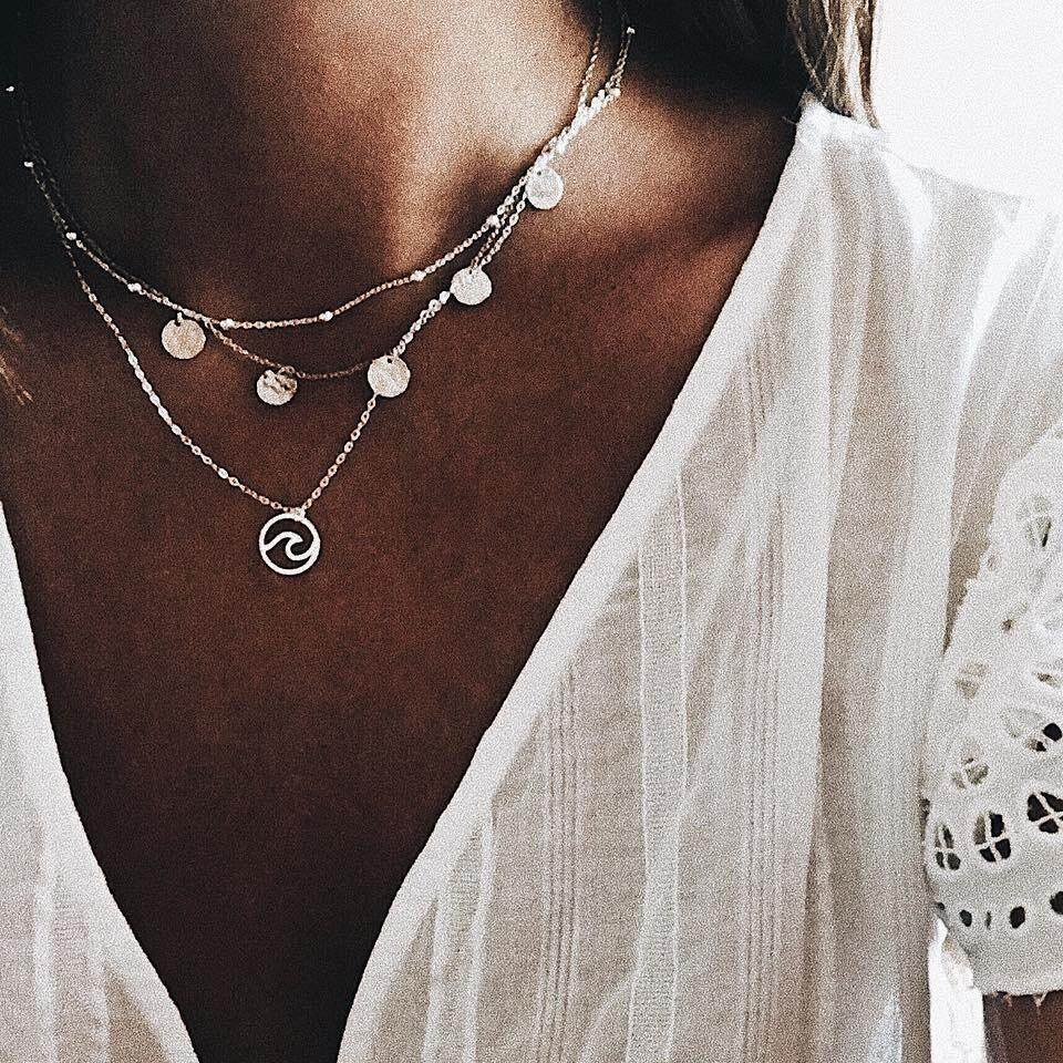 Bohemia Antique Silver Sequins Wave Pendant Chokers Necklaces Multi Layer Alloy Necklace Collar For Women Jewelry 6078 By Cehvki.