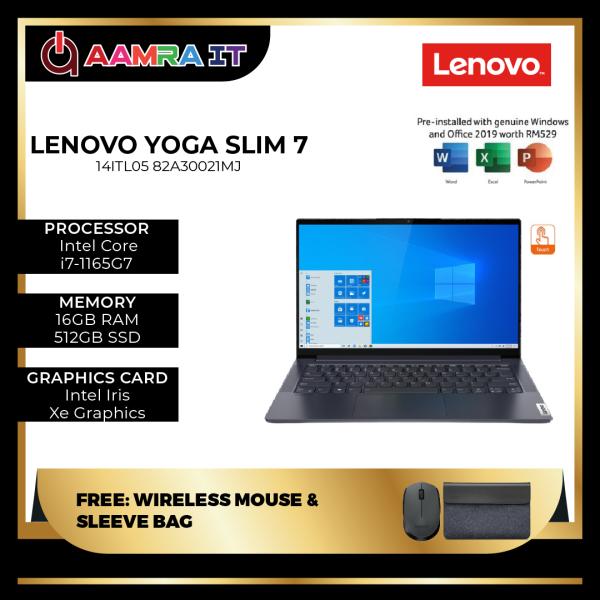 Lenovo Yoga Slim 7 14ITL05 82A30021MJ 14 FHD Touch Laptop Slate Grey ( I7-1165G7, 16GB, 512GB SSD, Intel, W10, HS ) Malaysia