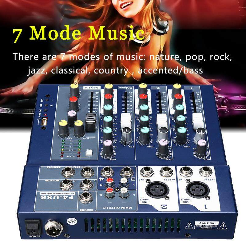 4 Channels 48v Usb Audio Mixer Stage Wedding Live Show Mixing Console Phantom By Threegold.