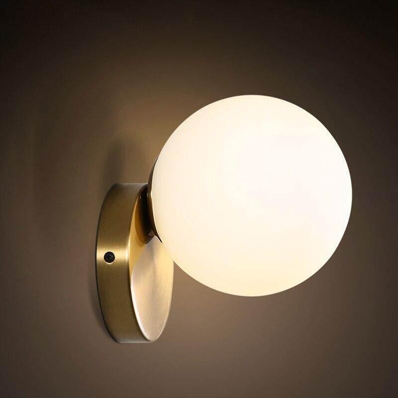 LED wall lamps Modern Glass Wall light for passage corridor Bedroom bedside lamp AC85-265V Milk White Globe Glass Ball Lampshade
