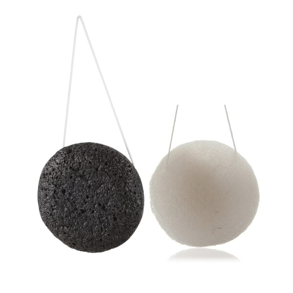 Giá bán 2 Pcs Konjac Konnyaku Jelly Fiber Face Makeup Wash Pad Cleaning Sponge Puff Exfoliator-White & Black