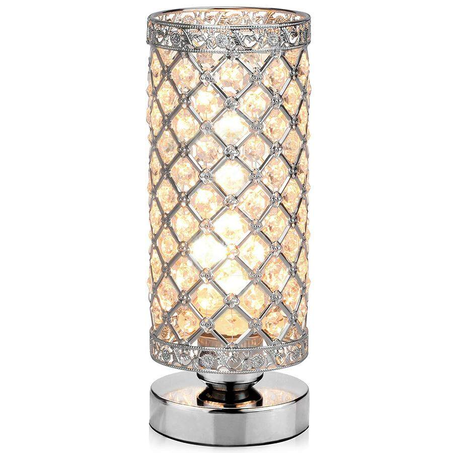 (DIY Crystal)  Table Lamp, Petronius Crystal Table Lamps, Decorative Bedside Nightstand Desk Lamp Shade for Bedroom, Living Room, Dining Room, Kitchen